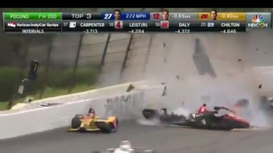 Terrifying IndyCar Crash Stops Race At Pocono