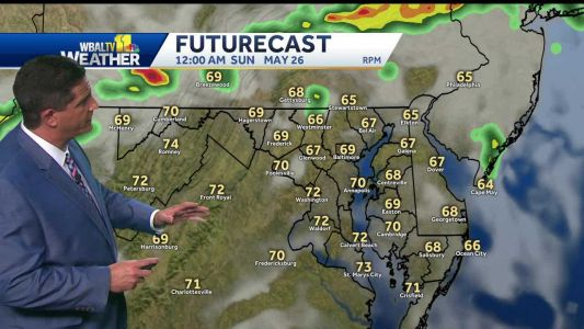 Mix of sun, clouds, small chance for storms