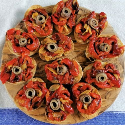 ROASTED RED PEPPERS WITH ANCHOVIES