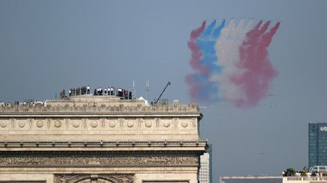 Falling riders, wrong banner & other takeaways from France's Bastille Day parade