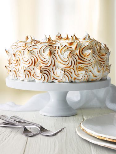Lemon Genoise Cake with Meringue Frosting