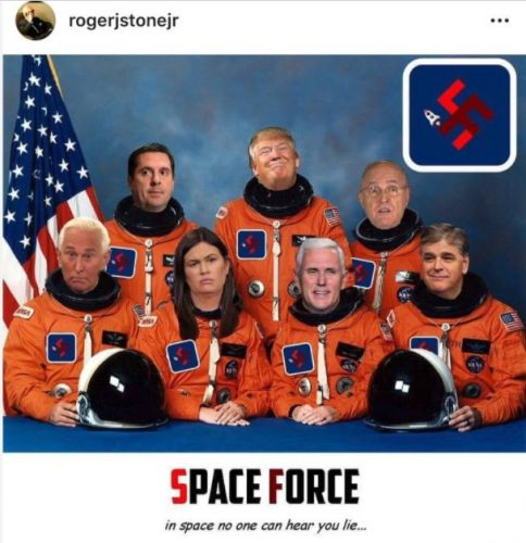 """Roger Stone shared a fake """"Space Force"""" photo of himself and Trump wearing swastikas"""