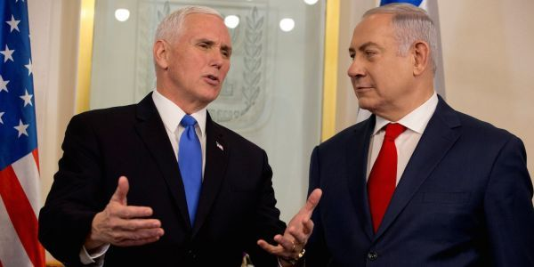 Benjamin Netanyahu noticeably didn't applaud a key part of Mike Pence's big speech to Israel's parliament