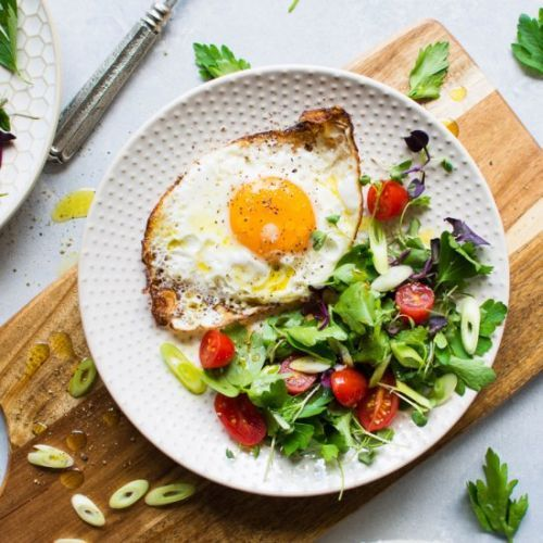 Olive Oil Fried Eggs with Salad