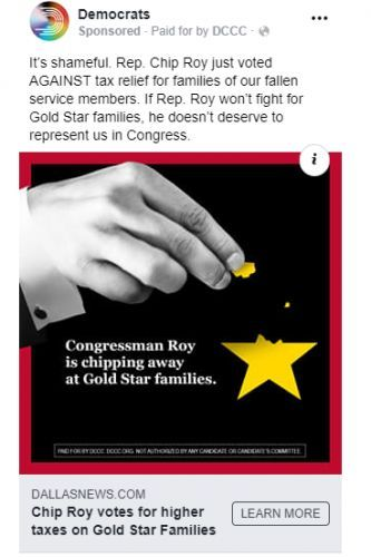 DCCC Launches Digital Ads Exposing Chip Roy's Shameful Vote for Higher Taxes on Gold Star Families