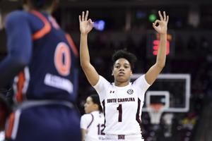 Boston, Cooke lead No. 1 Gamecocks to 79-53 win over Auburn