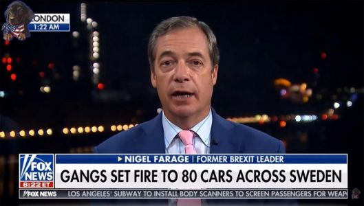Nigel Farage falsely claimed an 'immigration crisis' had led to 'mass arson' and sex offences in Sweden
