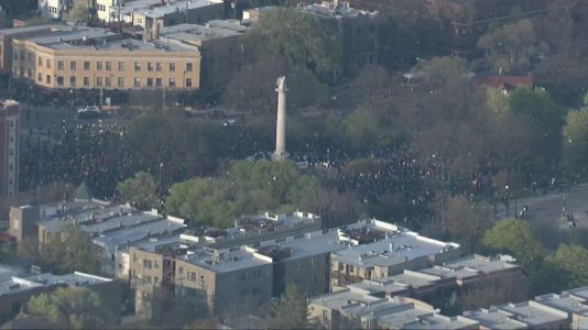 Hundreds flock to Logan Square for Adam Toledo protest