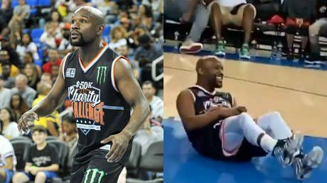 'The 1st time I've seen Floyd dropped!' Mayweather knocked down in charity basketball game