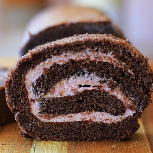 Chocolate raspberry Swiss roll cake