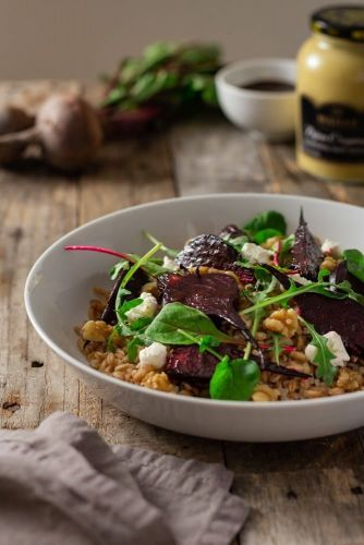 Goat Cheese and Beet Farro with Dijon-Balsamic Vinaigrette