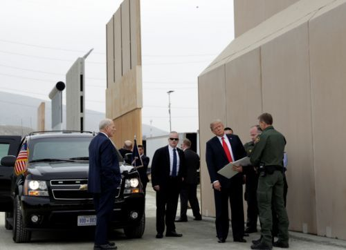 President Trump tours border wall prototypes near U.S. and Mexico Border