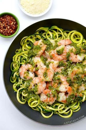 Zoodles with Shrimp and Ramp pesto