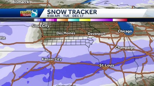 Long-duration snow event for southern half of Iowa