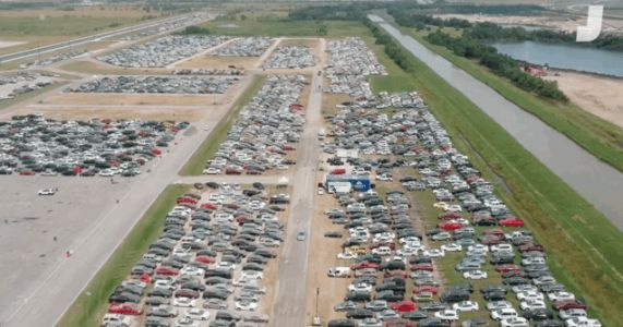 Here's Some Incredible Drone Footage Of Flooded Hurricane Cars Being Stored At Texas Race Tracks
