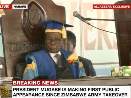 Robert Mugabe just fell asleep in his first public appearance since the Zimbabwe military coup