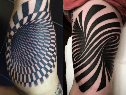 A guy got an optical illusion tattoo that makes it look like there's a huge hole in his arm