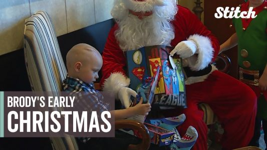 2-year-old boy with inoperable brain cancer celebrates Christmas early with community
