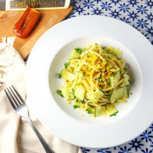Bucatini with Zucchini Lemon Zest