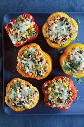 Bell Peppers Stuffed with Quinoa, Black Beans and Corn