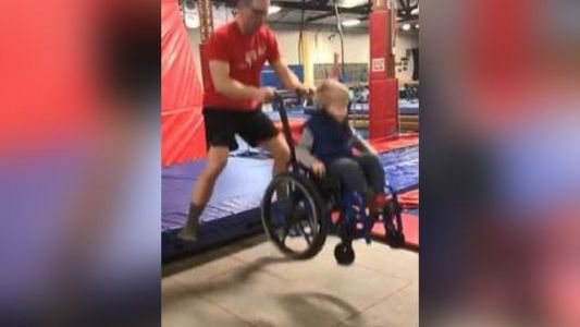 Heartwarming video shows 4-year-old boy in wheelchair 'jumping' on trampoline