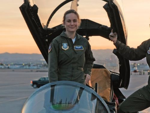 The first official photo of Captain Marvel in full costume is here - and fans are in love with Brie Larson as the female superhero