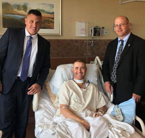 Omaha police chief, Gov. Ricketts visit injured Columbus police officer in hospital