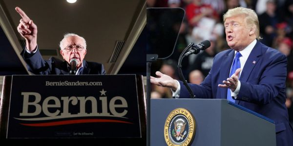 Trump sided with Bernie Sanders in his spat over whether he told Elizabeth Warren a woman can't win in 2020