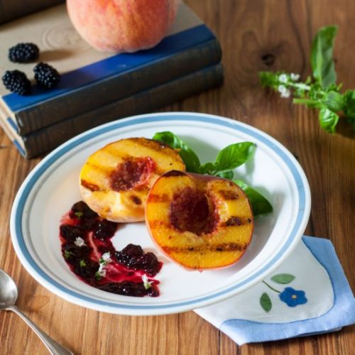 GRILLED PEACHES BLACKBERRY WINE SAUCE