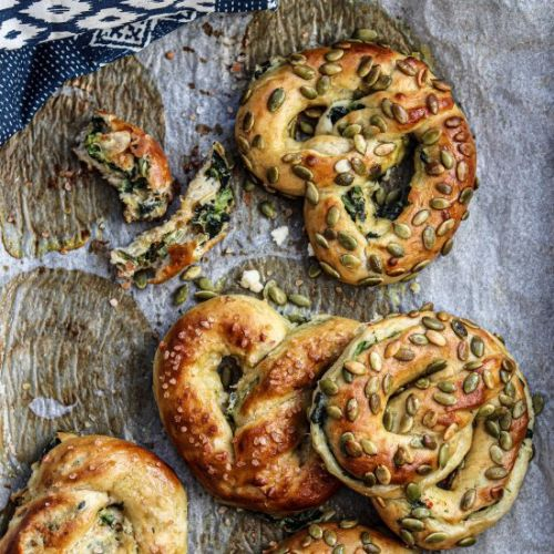 Soft Pretzels with Feta and Spinach