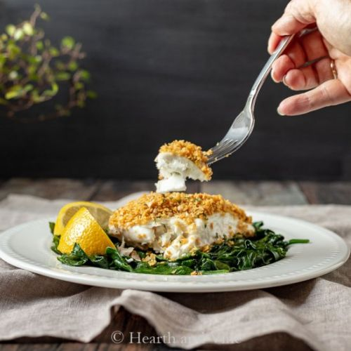 Baked Halibut with Chickpea Crust