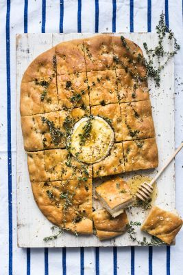 Baked Camembert Focaccia with Dukkah and Honey