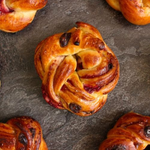 Chocolate Raspberry Brioche Buns
