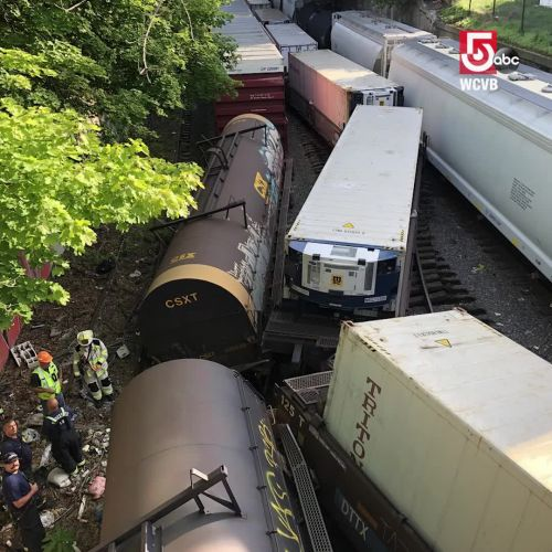Several cars derail in Worcester after train strikes overpass