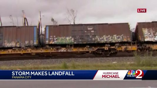 Hurricane Michael knocks train off tracks in Panama City