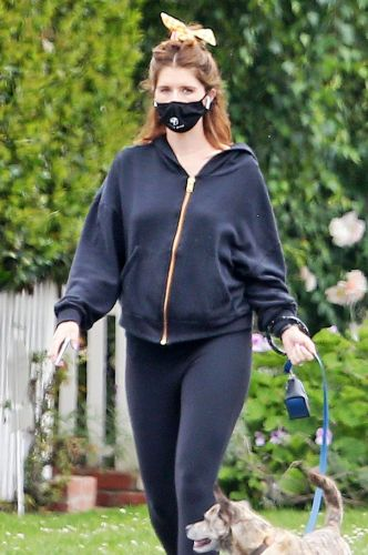 Pregnant Katherine Schwarzenegger Shows Off Her Baby Bump in All Black Look While Walking Her Dog