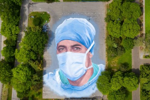 This Massive 20,000-Square-Foot Mural Honors COVID-19 Healthcare Workers and Victims