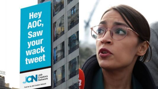 'Hey AOC, saw your wack tweet': Conservative business group escalates Times Square billboard feud with Ocasio-Cortez over Amazon HQ2 pullout