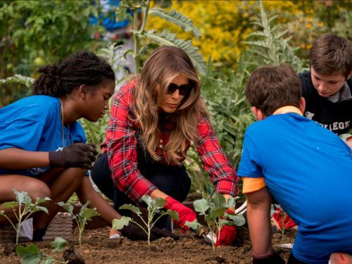 Melania Trump is being mocked for the outfit she wore in Michelle Obama's vegetable garden almost a year ago