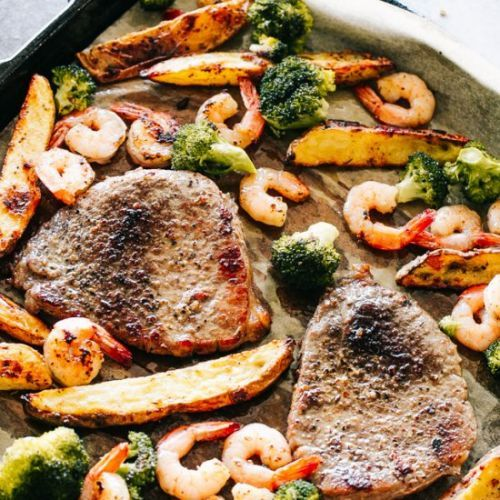 Sheet Pan Steak and Shrimp Dinner