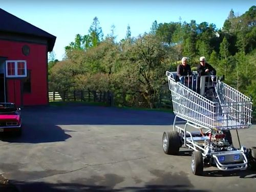 Watch Guy Fieri Drive a Giant Turbo-Charged Shopping Cart with Jay Leno