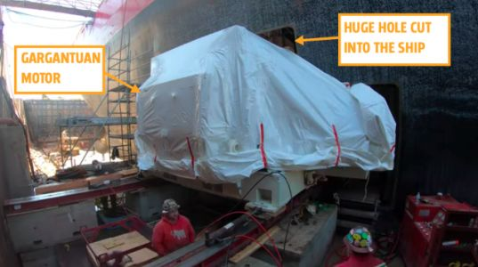 Watch The Coast Guard Install A New Motor Into The Huge Hole They Cut Into Their Biggest Ship