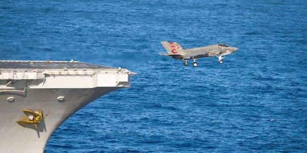Watch an F-35 nearly plummet into the ocean during a test launch from an aircraft carrier