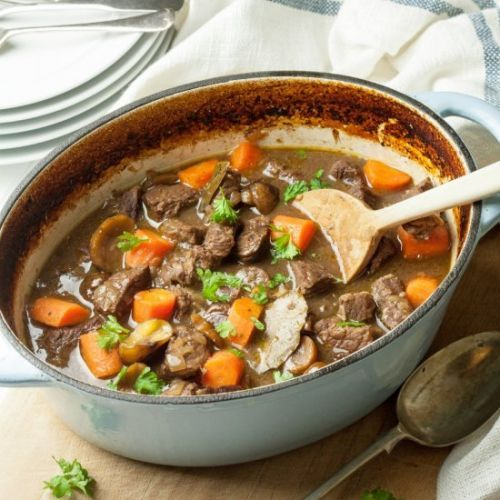 Beef, Chestnut & Red Wine Casserole