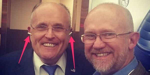 Look at Rudy Giuliani wearing his Apple AirPods completely wrong