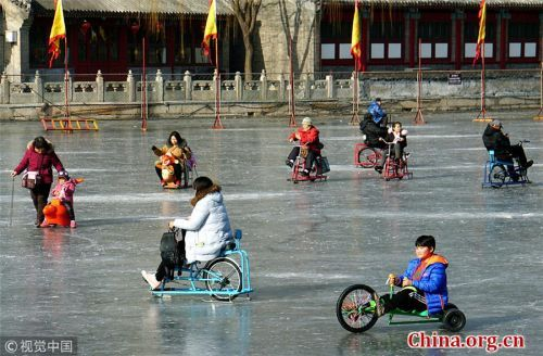Chilling out at Beihai Park in winter