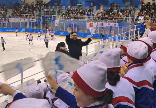 A Kim Jong Un impersonator walked through North Korea's Olympic cheer squad - and their faces say it all