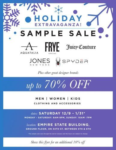 HOLIDAY SAMPLE SALE EXTRAVAGANZA FEATURING SPYDER, FRYE, AQUATALIA, JONES NEW YORK, AND JUICY COUTURE