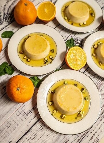 Vegan Orange Rosewater Creme Caramel