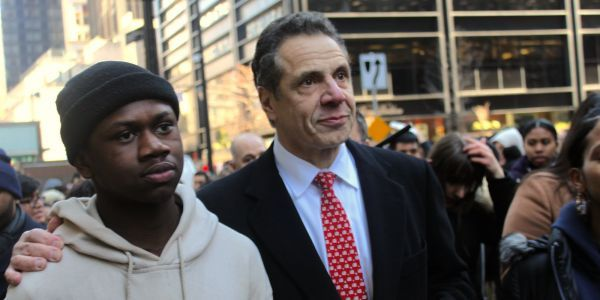 Gov. Cuomo walked out with students protesting gun violence in New York City - but refused to endorse their most radical idea